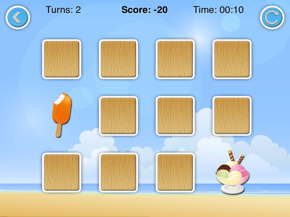 Bild på memoryspel för iPhone med glassar